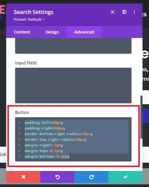 Button Styling Search Module